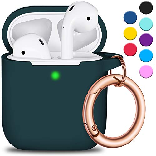 R-fun AirPods Case Cover with Circle Keychain, Full Protective Silicone AirPods Accessories Skin Cover for Women Girl with Apple AirPods Wireless Charging Case,Front LED Visible-Black Green