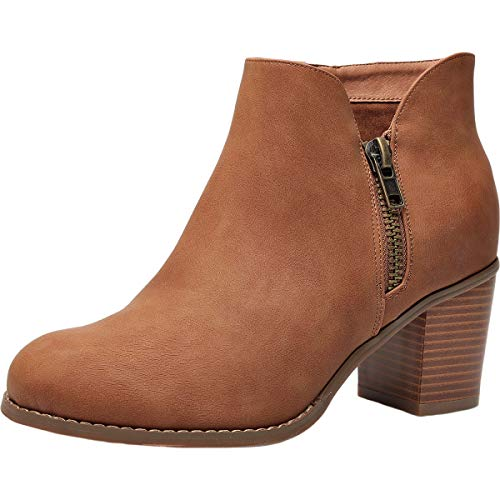 Plus Size Short Ankle Boots for Women, Autumn Winter Spring Mid Chunky Block Stacked Heels Round Toe Slip on Waist Zipper Wide Sole Boots for Lady Brown US Size 8.5 WW