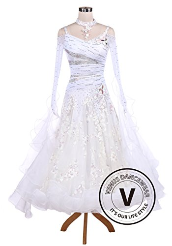 White Sequin Embroidered Ballroom Competition Dance Dress by Venus Dancewear