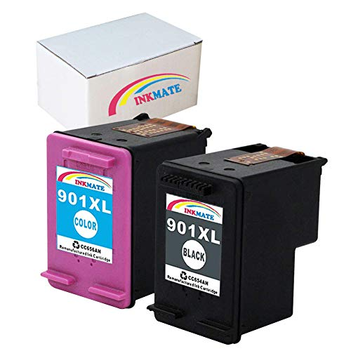 INKMATE Compatible Ink Cartridge Replacement for 901XL for HP CC654AN CC656AN OfficeJet 4500 J4680 J4580 J4550 J4540 J4524 J4624 J4640 J4660 J4680c 1Black/1Color 2Pack