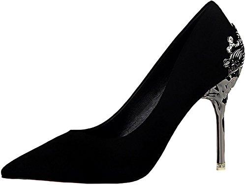 ODEMA Women's Sexy Pointed Toe High Heels Stilettos Pumps Wedding Shoes Black
