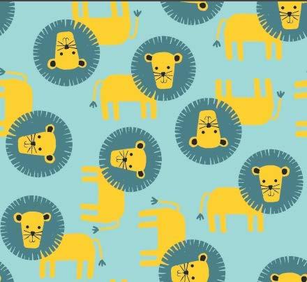 (Stitch & Sparkle Blue Baby Lions 100% Cotton Flannel Fabric 43