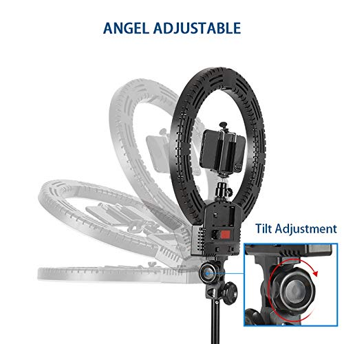 Kshioe Upgraded 12'' Dimmable LED Ring Light, Adjustable 2700-5500K Color Temperature Circle Light with 78 Inch Light Stand & Table Top Stand, Camera Phone Holder, Carring Case for Video Shooting by Kshioe (Image #6)