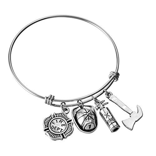Miss Pink Stainless Steel Adjustable Wire Bangle Charm Bracelet DIY Jewelry Gifts for Firefighter Fire Wife Mom Daughter Girlfriend 2.5 -