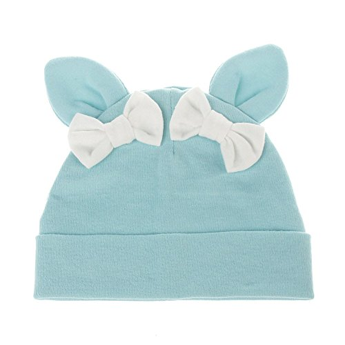 Rabbit Bowknot (Kasien Baby Caps, Toddler Baby Girls Boys Bowknot Rabbit Ears Cotton Sleep Cap Headwear Hat (Blue))