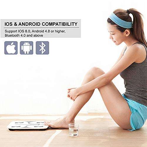 REDOVER-Bluetooth Body Fat with Android Smart Digital Bathroom Body Water, Muscle Mass, BMI, BMR, Bone Mass Visceral 400lb