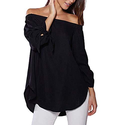 Toamen Dcontracte Femmes Noir paule T T irrgulier shirt shirt longues Top irrgulier blanc manches XL Blouse ourlet fendu rr8Tdwq