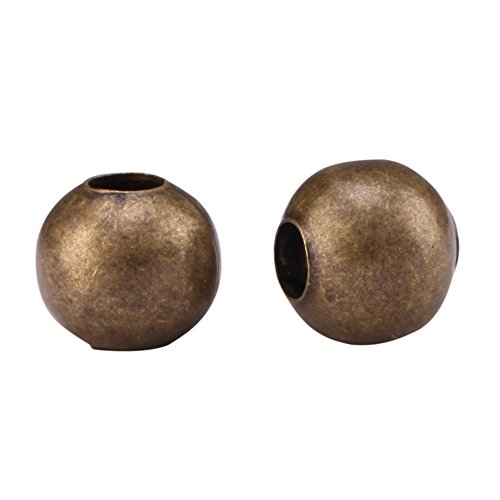 200pcs Top Quality 8mm Smooth Antique Bronze Loose Round Spacer Beads (Large Hole ~3mm) for Jewelry Craft Making CF89-8 ()