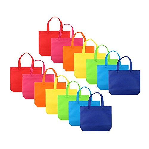 Colorful Party Gift Tote Bags, Auoker Pack of 14 Non-Woven Fabrics Gifts Handle Bags for Christmas/Birthday Favors/Decoration/Arts & Crafts/Event Supplies, Rainbow (Gift Tote Gift Set)