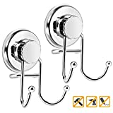 Suction Cup Hook, Powerful Vacuum Suction Shower Hook Holder, Strong Stainless Steel Hooks for Bathroom & Kitchen,Towel Hanger Storage, Bath Robe, Coat, Loofah, Chrome (2 Pack)