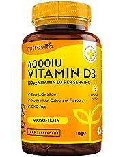 Vitamin D 4000 IU – Över 365 dagar med lättsvalda mjuka gelkapslar – Vitamin D3 kolekalciferol – Tillverkade i Storbritannien av Nutravita