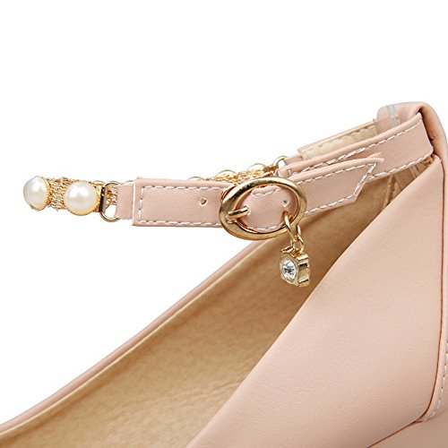 Buckle Kitten Heels Toe Shoes Rubber Bead Pink Round Pumps Womens Solid BalaMasa 1w5R0qw