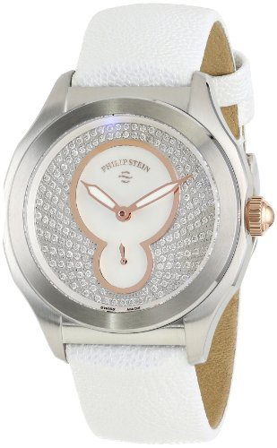 Philip Stein Women's 15-PDRG-PPW Prestige Diamond and Rose Gold-Tone Stainless Steel Watch with White Leather Band