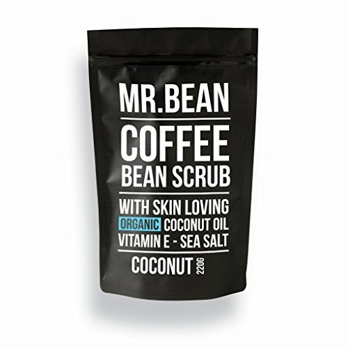 Mr. Bean Organic All Natural Coffee Bean Exfoliating Body Skin Scrub with Coconut Oil, Vitamin E, and Sea Salt - Coconut