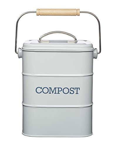 KitchenCraft Living Nostalgia Metal Kitchen Compost Bin, French Grey, 16.5...