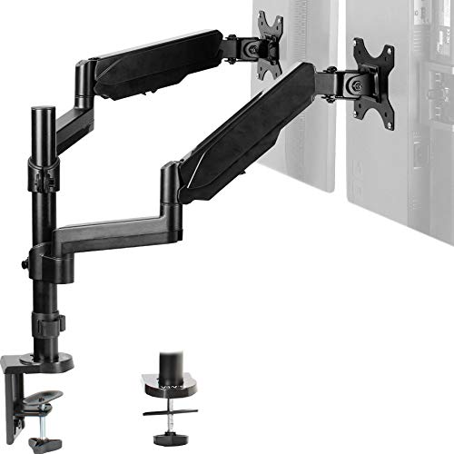 VIVO Dual Arm Computer Monitor Desk Mount Holds 17 to 32 inch Screens - Pneumatic Height Adjustment, Full Articulation | VESA Stand with C-clamp and Grommet (STAND-V002K)