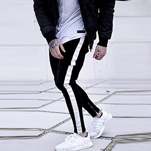Pantaloni Casual Jeans yanhoo Slim Sportivi Sfrangiati Uomo Fit Allenamento Strappato Di Cotone Nero Biker Aderenti gUZwgrpq0