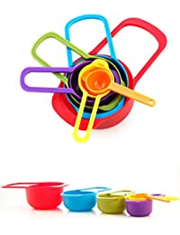 Want 6 Pc Set of Plastic Nested Measuring Cups and Spoons. Stackable Space Saving Multicolor Design (Multi-color, Set... wholesale