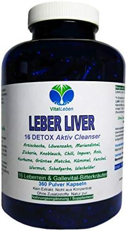 Leber Liver 16 Reinigungskräuter DETOX Aktiv Cleanser Leberrein & Gallevital 360 Kapseln. 16 Bitterkräuter für Leber- & Fettstoffwechsel in EINEM, NATUR PUR. 26555-360
