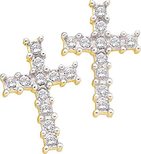 Aienid 10Kt Yellow Gold 0.11Ct Diamond Cross Earrings for Women ()