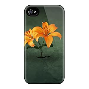 Premium DmCGhAA6472WSKrr Case With Scratch-resistant/ Orange Flower Case Cover For Iphone 4/4s