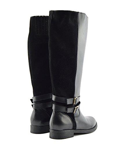Riding Womens Calf Flat Leather Black Knee High Size Kick Large Elastic Boots Boots Footwear Wide X4TqwwCgx