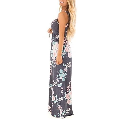Women/'s Floral Beige Maxi Dress Long Stretchy Long Razorback New Large//XL