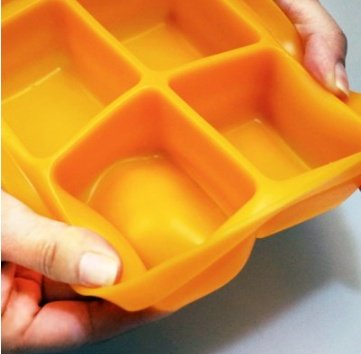 Silicone Ice Mold I-Cube Multi Cube Baby Food Starage Container (Orange+Red+Viloet+Green) by Bibito (Image #8)