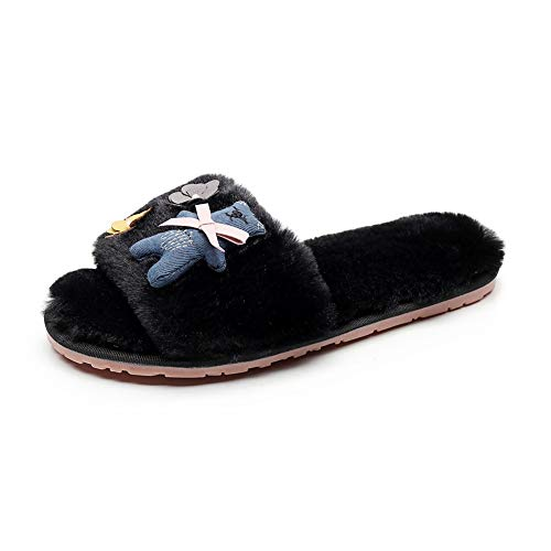 hot sell Women's Bow Bear Furry Shoes Fur Slippers Flower Small Fresh Home Designer Slides 2018 Slippers for sale