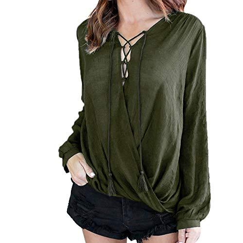 YOcheerful Women Shirt Tee Top Long Sleeve Blouse Solid Sweatshirt Travel Pullover (Army (Black Leather Marines Logo Jacket)