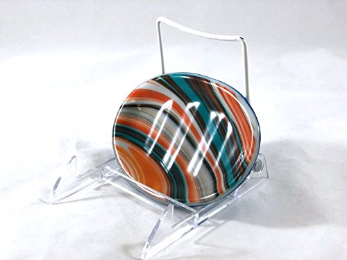"Soap Dish 5"" Fused Glass Southwestern Swirl Turquoise and Orange"