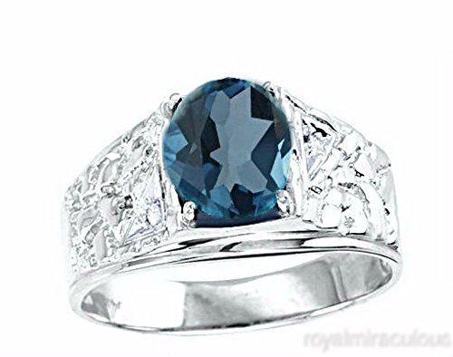 Mens Blue-Topaz & Diamond Ring Sterling Silver or Yellow Gold Plated Band - December Birthstone