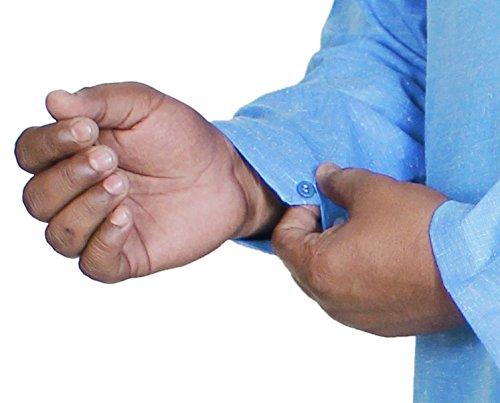 Bouton manches longues mens coton kurta t-shirt décontracté solide brodé