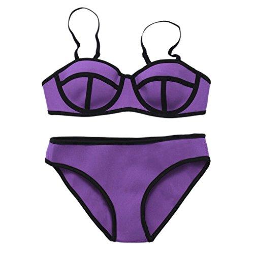 Traje de baño de moda neopreno bikini traje de baño partido traje de baño de playa traje de baño Purple
