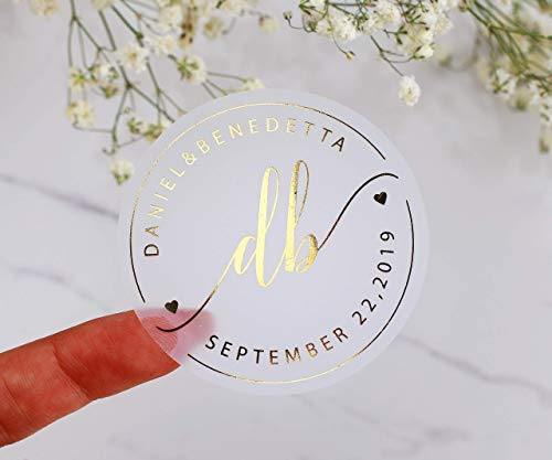 Gold Foil Wedding Stickers Real Gold Foil Wedding Favor Labels Custom Thank you Stickers Wedding Favors Transparent Matte Gold Stickers -