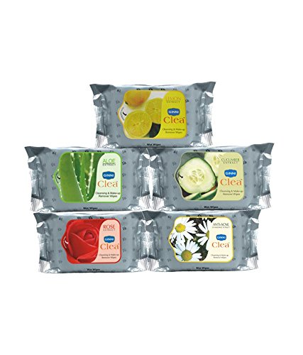 Ginni Cleansing & Make-up Remover Wipe Rose , Aloevera , Orange , Strawberry , Lemon - Pack of 5 SD - With Complementary Gifts!! (Makeup Strawberry Remover)