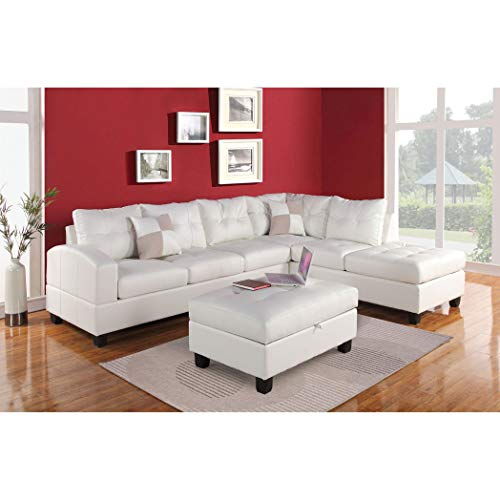 ACME Kiva White Bonded Leather Reversible Sectional Sofa with 2 Pillows (Sectional Acme Sofa Furniture)