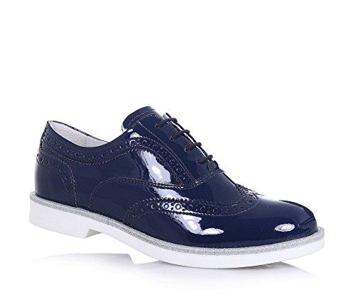 NERO GIARDINI - Chaussure à l'anglaise à lacets bleue en vernis, made in Italy, motif à l'anglaise perforé, fille, filles, femme, femmes