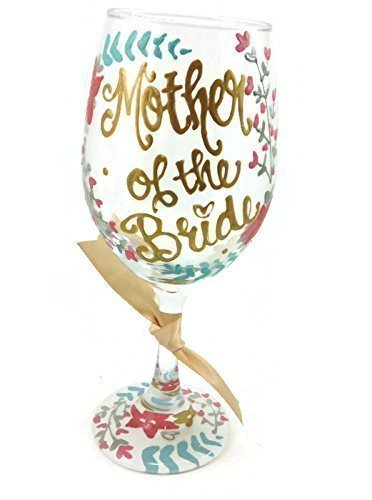 Free Personalization - Mother of the Bride - Hand Painted Wine Glass Floral Laurel Gold and Coral Wedding (Hand Painted Wine Glasses Mother Of The Bride)