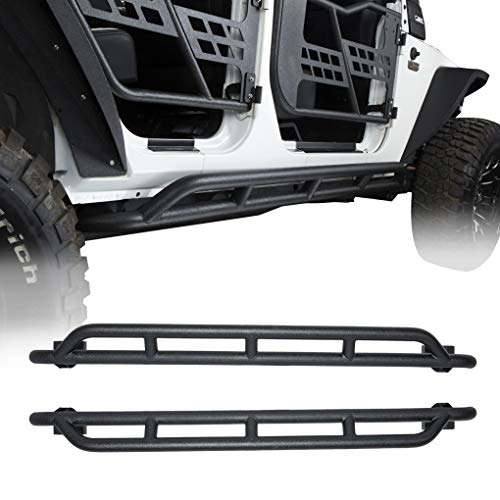 Hooke Road Jeep JK Side Steps Nerf Bars Rock Crawler Guards for 2007-2018 Jeep Wrangler JK (4 Door-Pair) (Jeep Jk Rocker)