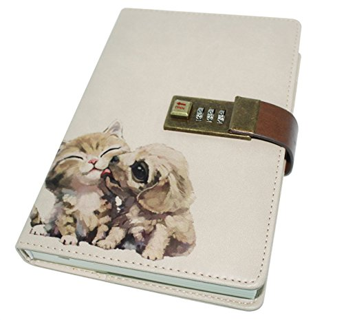 CC-US PU Leather Notebook with Combination Lock Pen Holder Diary Journal Sketchbook Notepad Planner, B6 Size, 224 Pages (Lock Book Diary With)