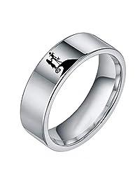 YOZOOE Eternity Rings Titanium Steel Simple Micro-Inlay Ring,Couple Ring