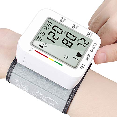 Blood Pressure Monitor, MIZOO Large LCD Display&Adjustable Wrist Cuff (5.31″-7.68″) Automatic Accurate 180 Reading Memory for Adult Men Women Seriors Elder