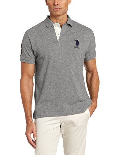 U.S. Polo Assn. Men's Slim Fit Solid Pique Shirt, Campus Heather Grey, Small