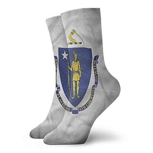 - Men Multicolored Pattern American State Flag Massachusetts Light Cushion Athletic Socks