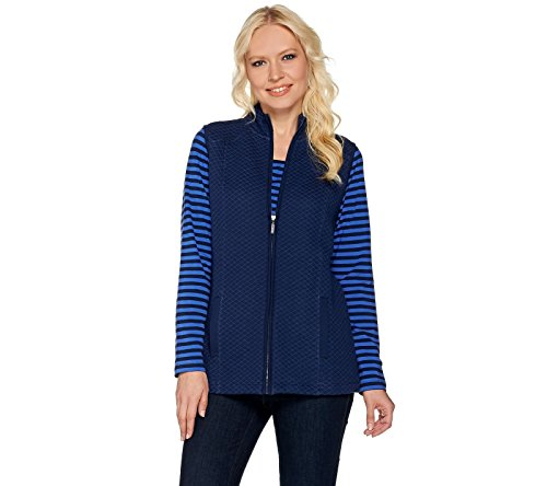 Denim & CO Active Long Sleeve Striped Top Quilted Vest Set Navy L New A280654