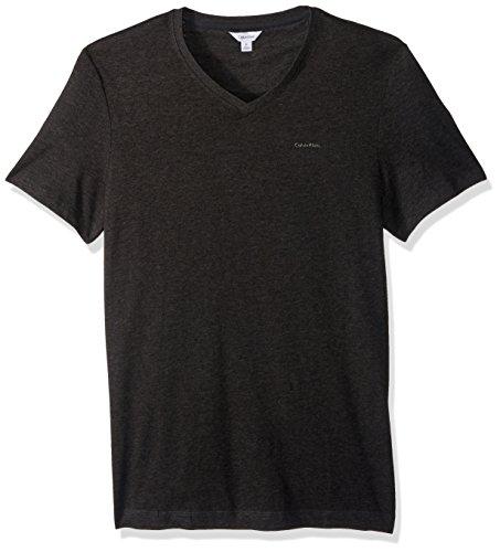 Calvin Klein Men's Short Sleeve Pima Cotton V-Neck T-Shirt, Gunmetal Heather, Large Pima Cotton V-neck Tee