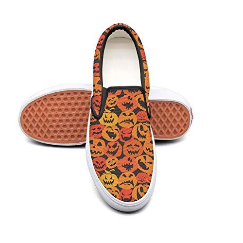Pumpkin faces pumpkin carving Classic women's Canvas Slip-On Shoes Sneaker ()