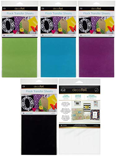 Deco Foil - Flock Transfer Sheets and Foam Adhesive Bundle - Cool Tones - Green, Blue, Purple and Black Flock - 5 Items