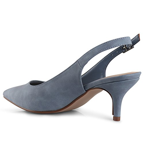 LUSTHAVE Women's Betty Kitten Heel Sling Back Closed Pointy Almond Medium Heel Pumps Shoes Blue 7.5 by LUSTHAVE (Image #5)